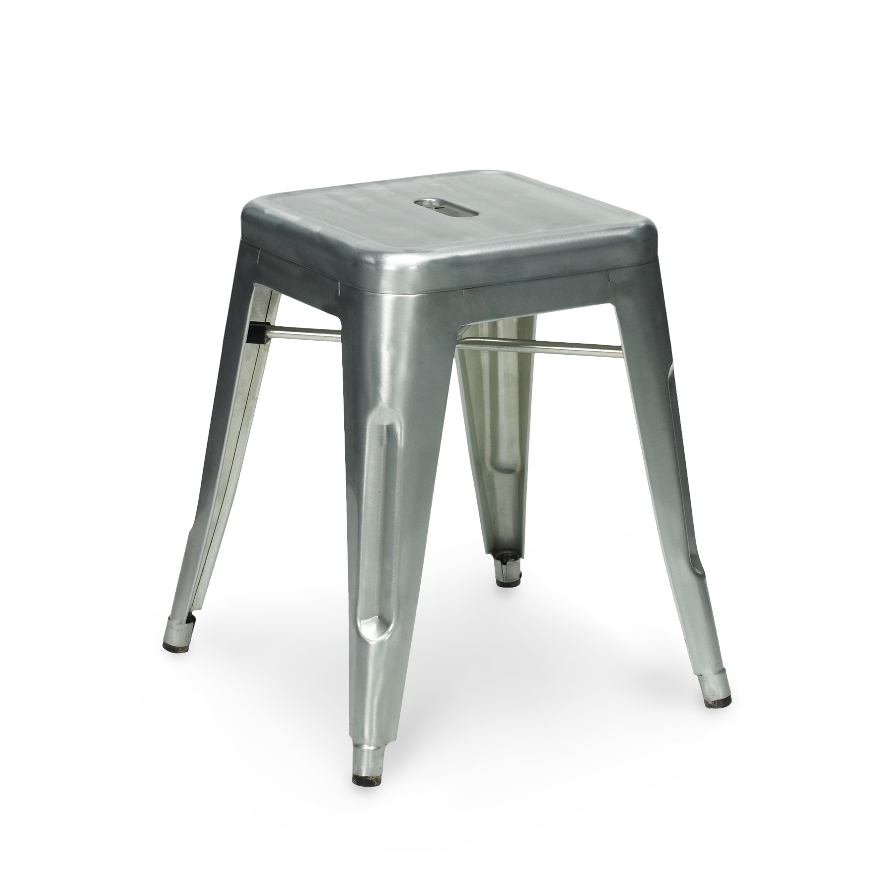 Galvanised Metal Tolix Stool 45cm. Xavier Pauchard 45cm Galvanised Stool.  CULT017_galvanized_frontside